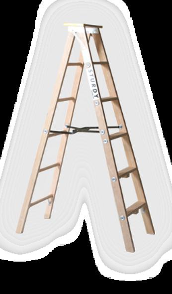 Sturdy 99-05, 5'  Extra Heavy Duty Industrial Wood Stepladder