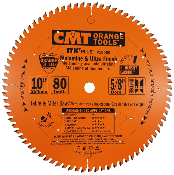 """CMT P10080 ITK Plus Non-Ferrous Metal and Composite Decking Saw Blades 10"""" x 80 Tooth"""