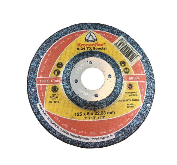 "Klingspor 231251 5"" x 1/4"" x 7/8"" A24TX Grinding Disc"
