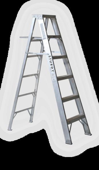 Sturdy A412-08, 8' Aluminum Step Ladder - Extra Heavy Duty