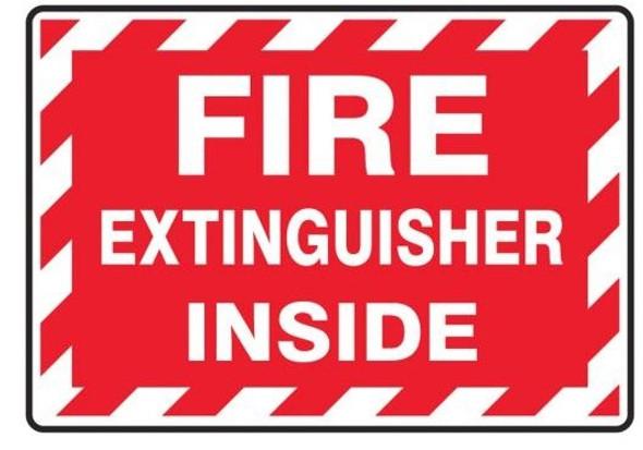 Accuform LFXG571XVE Fire Extinguisher Label: Fire Extinguisher Inside (Striped)