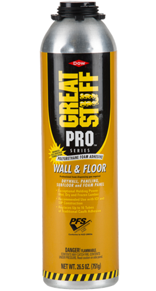 Dow 343088, GREAT STUFF PRO, Wall and Floor Gun Adhesive - 26.5oz