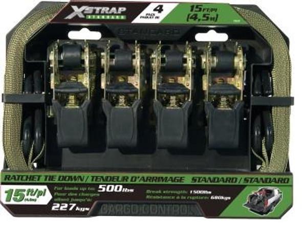 """Centrix 78001, X-Strap 4 Piece 1""""x15Ft Ratchet Tie Down Set"""