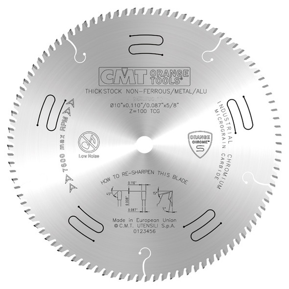 CMT 225.672.10 10 inch 72 Tooth Thick Stock Non-Ferrous Metal, PVC Circular Orange Chrome Saw Blade