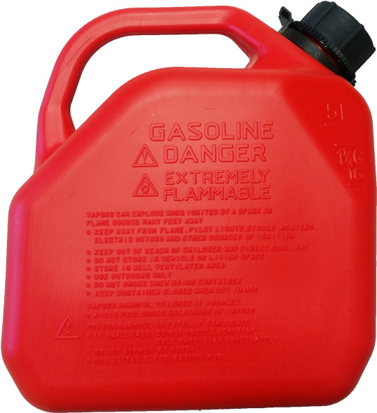 5 Litre 1 gallon Red Plastic Gas Can