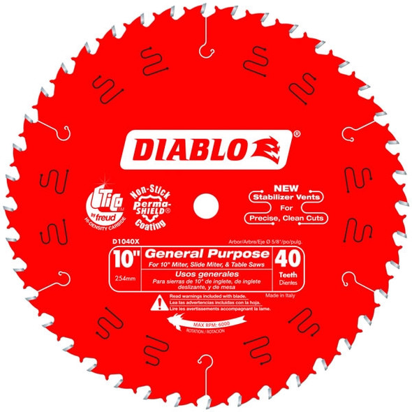 "Diablo 10"" 40 Tooth General Purpose Saw Blade"