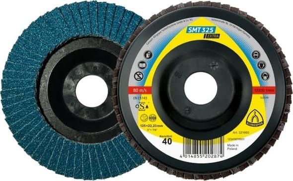 "Klingspor 321660 5"" x 7/8"" Flap Disc, 40 Grit - SMT 325"