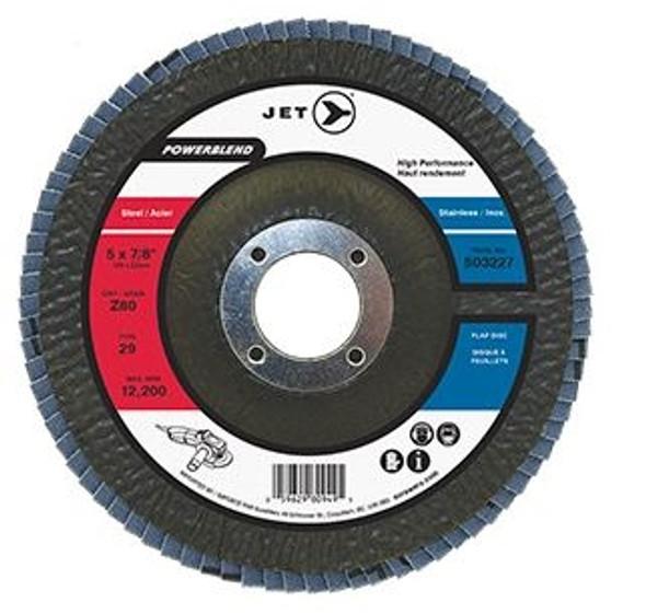 JET 503225 5 x 7/8 inch Z60 Powerblend T29 Zirconia Flap Disc
