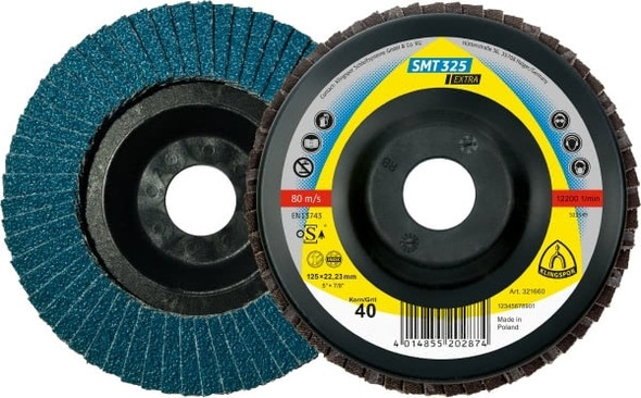"Klingspor 321662 5"" x 7/8"" Flap Disc, 60 Grit - SMT 325"