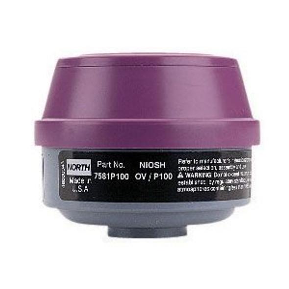 North Safety 7583P100L Organic Vapor & Acid Gas Cartridge & P100 Filter