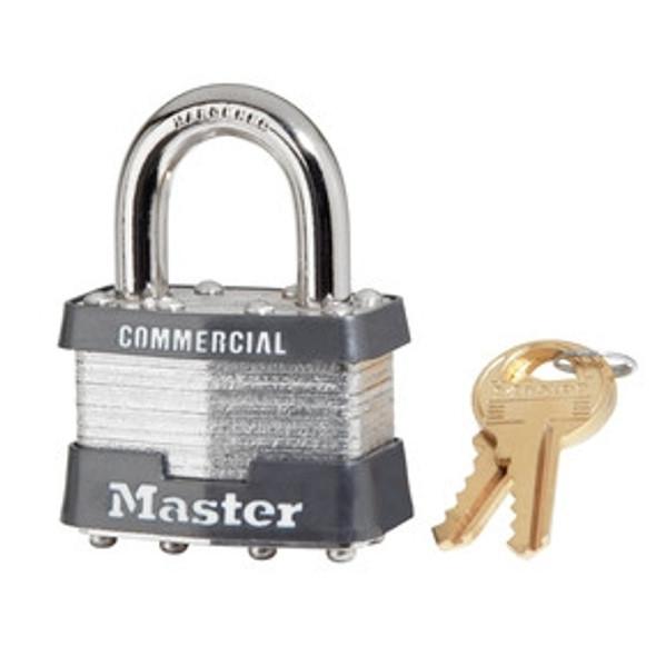 Master Lock 3KA, 1-9/16in (40mm) Wide Laminated Steel Pin Tumbler Padlock, Keyed Alike