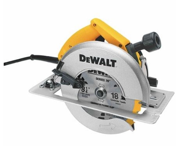 "Dewalt DW384 8 1/4"" Circular Saw with Rear Pivot Depth of Cut Adjustment and Electric Brake"