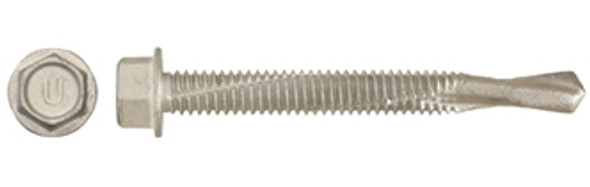 """Ucan Hex Washer Head Extra Drill Capacity #14-28 x 3"""" Self Drilling Screw - Ruspro Coated"""