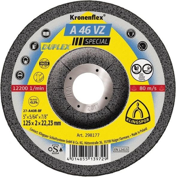 "Klingspor 298177 5"" x 5/64"" x 7/8"" A46VZ Kronenflex Cut-Off Wheel"