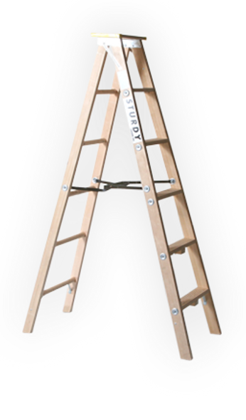 Sturdy 99-08 8'  Extra HeavyDuty Industrial Wood Stepladder