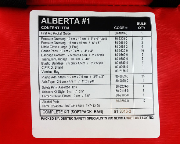 Dentec 81-3016-2 Number 1 Alberta First Aid Kit Nylon Pouch