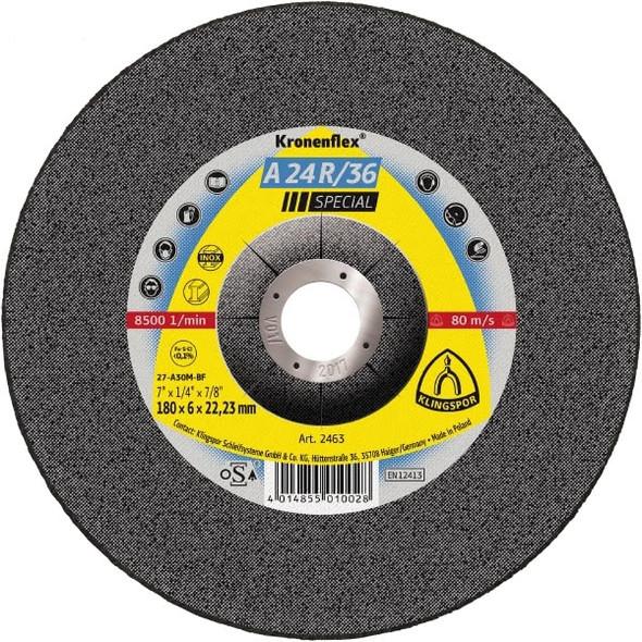 """Klingspor 2825 5"""" x 3/32"""" x 7/8"""" A24R/36 Kronenflex Cut-Off Wheel Inox"""
