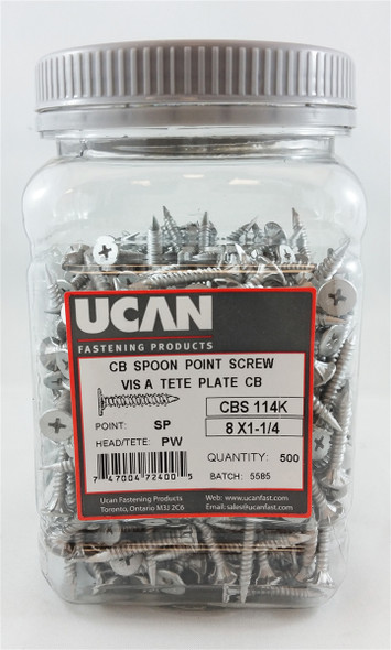 "Ucan CBS114K, 8 X 1-1/4"" Cement Board Screws-Jug"