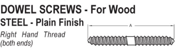Dowel Screw 1/4 x 2  Bare
