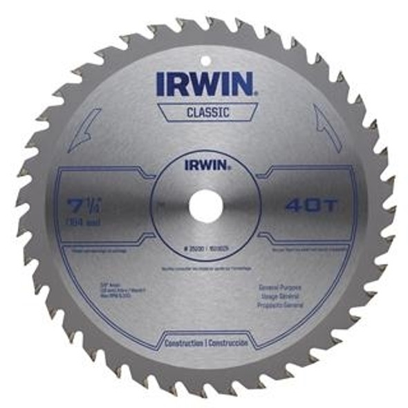"Irwin 15250 8-1/4"" Dia. 40 Tooth Circular Saw Blade"
