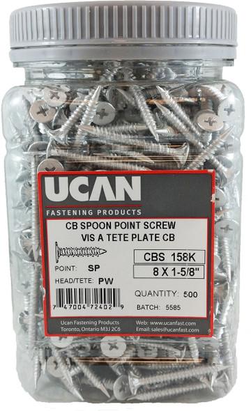 "Ucan CBS158K, 8 X 1-5/8"" Cement Board Screws-Jug"
