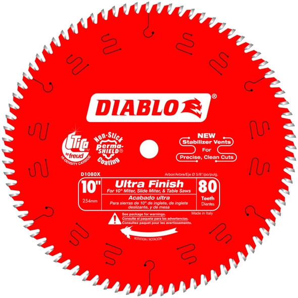 "Diablo 10"" - 80 Tooth Ultra Finish Saw Blade"