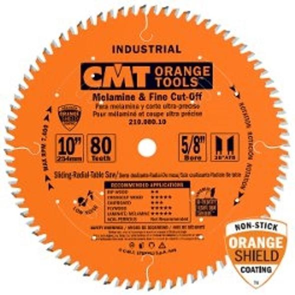 """CMT 210.080.10 10"""" 80 tooth Industrial melamine & fine cut-off circular saw blade"""