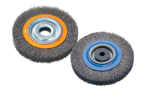 "Walter 13-B 061 Bench wheel brush with crimped wires 6"" X 1-1/8"""