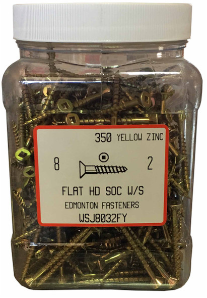 """#8 x 2"""" Flat Head Yellow Zinc Wood Screw - Jug"""