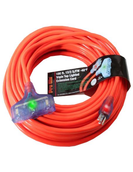 Century Wire D17222100 Pro Glo 12/3 Triple Tap 100 Foot Extension Cord - Orange