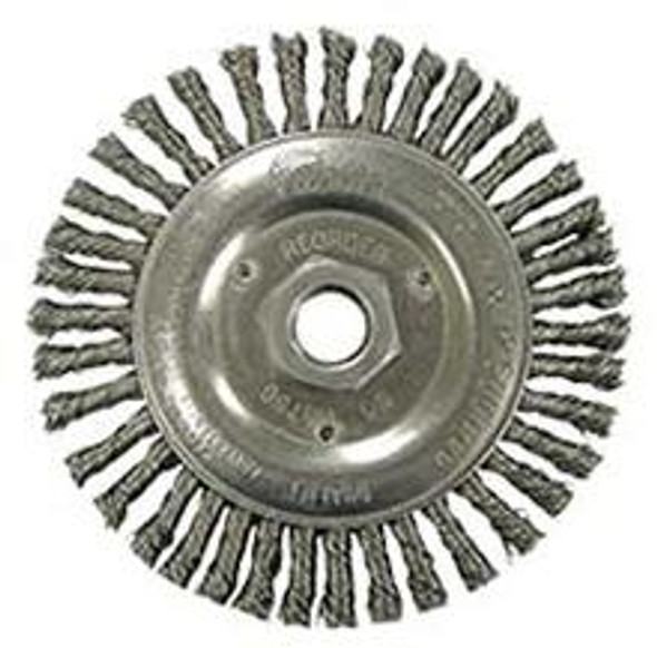 """Weiler 08806 Roughneck 4-7/8"""" Root Pass Weld Cleaning Brush, .020 Stainless Steel Wire, 5/8""""-11 UNC Nut"""