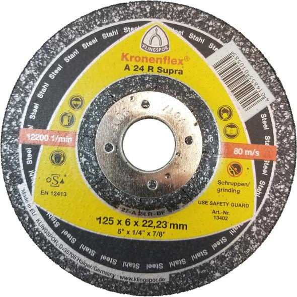 "Klingspor 13402 Kronenflex 5"" x 1/4"" x 7/8"" Supra A24R Grinding Wheels-Discs"