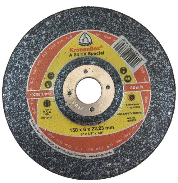 "Klingspor 235370 6"" x 1/4"" x 7/8"" Kronenflex A24TX Grinding Disc"