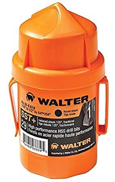 Walter 01-E 618, SST+ Jobber's Length 135° Round Shank, Fractional Drill Bit Set