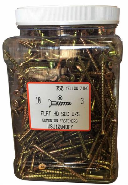"""#10 x 3"""" Flat Head Yellow Zinc Wood Screw - Jug"""
