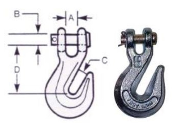 "Vanguard 3930-5020 Clevis Grab Hook - Galvanized l 5/16"""