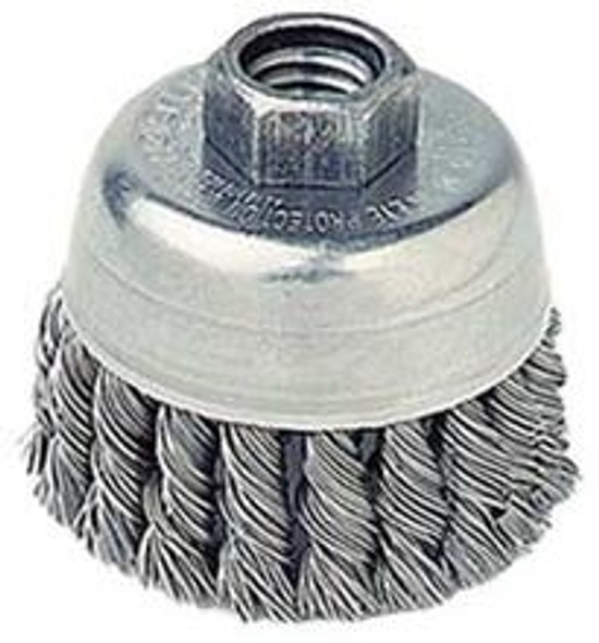 """Weiler 13286,   2-3/4"""" Single Row Knot Wire Cup Brush, .020"""" Steel Fill, 5/8""""-11 UNC Nut"""