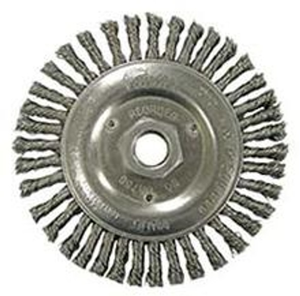 """Weiler 08756, Roughneck  5"""" Root Pass Weld Cleaning Brush, .020"""" Steel Wire Fill, 5/8""""-11 UNC Nut"""