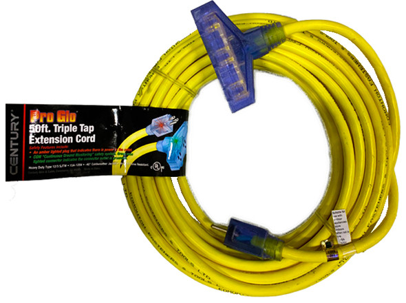 Century Wire D17223050 Pro Glo 12/3 Triple Tap 50 Foot Extension Cord- Yellow