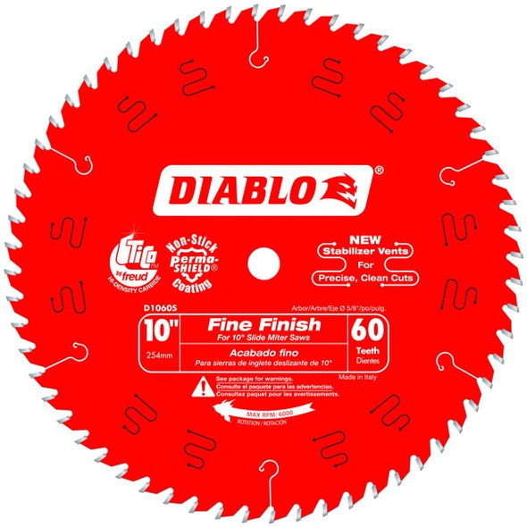 "Diablo 10"" - 60 Tooth Fine Finish Slide Miter Saw Blade"