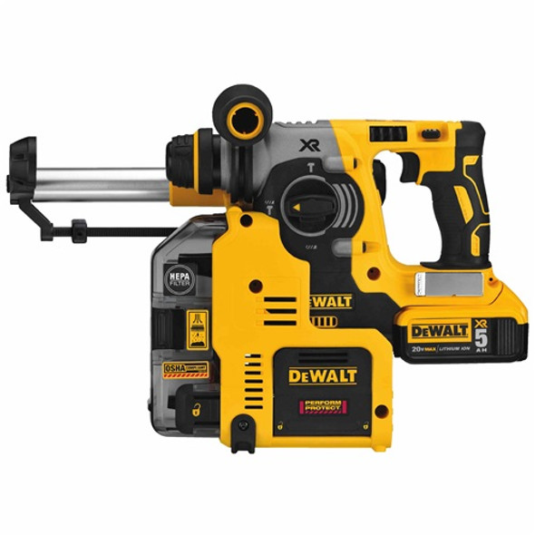 """Dewalt DCH273P2DHO 20V MAX XR Brushless 1"""" L-Shape SDS Plus Rotary Hammer Kit with On Board Dust Extractor"""