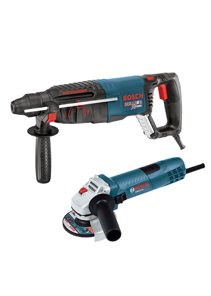 "Bosch 1"" SDS-plus Bulldog Xtreme Rotary Hammer with 4.5 In. Small Angle Grinder"