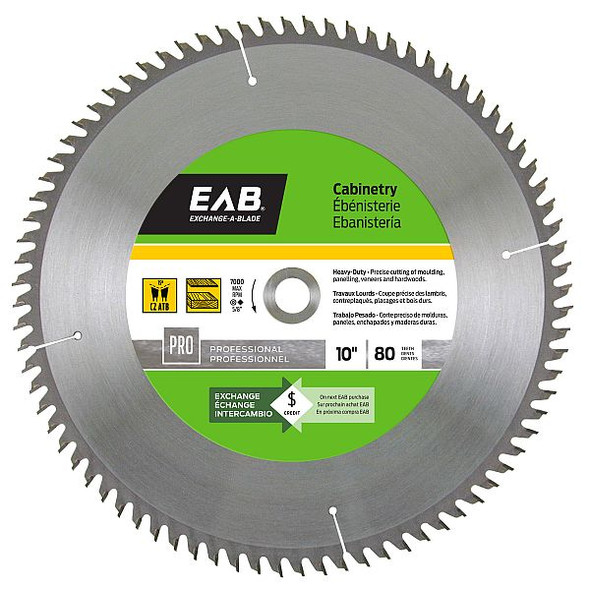 """Exchange A Blade 1013872 10"""" x 80 Teeth Carbide Cabinetry Professional Saw Blade"""