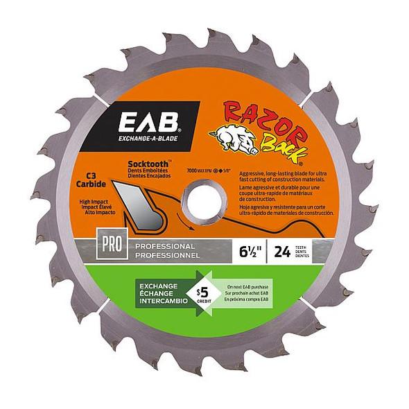 "Exchange A Blade 1016092 6 1/2"" x 24 Teeth Carbide Razor Back Professional Saw Blade"