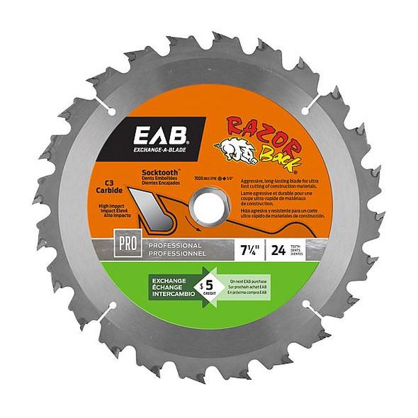 "Exchange A Blade 1016342 7 1/4"" x 24 Teeth Carbide Razor Back Professional Saw Blade"