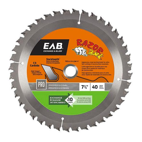 "Exchange A Blade 1016442 7 1/4"" x 40 Teeth Carbide Razor Back Professional Saw Blade"