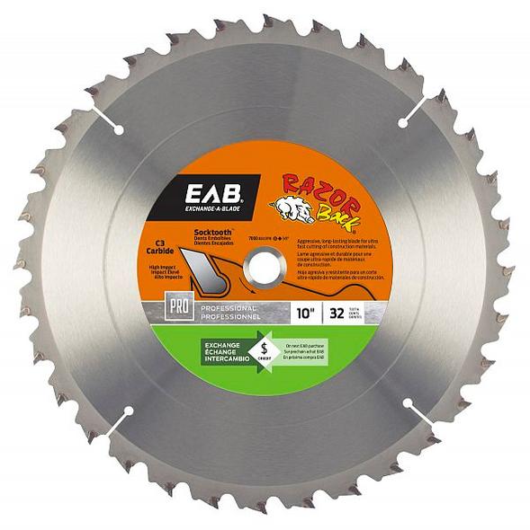 "Exchange A Blade 1016762 10"" x 32 Teeth Carbide Razor Back Professional Saw Blade"