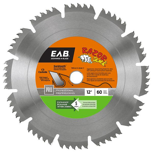 "Exchange A Blade 1016872 12"" x 60 Teeth Carbide Razor Back  Professional Saw Blade"