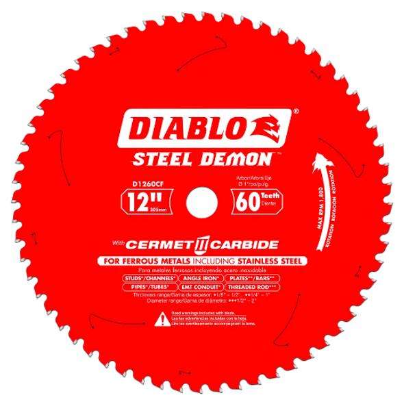 "Diablo 12"" - 60T Cermet Metal & SS Cutting Saw Blade"