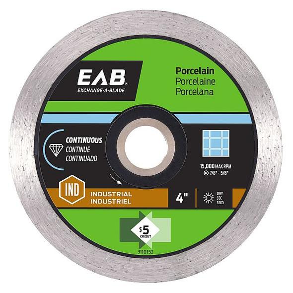 "Exchange-A-Blade 3110152 4"" Continuous Porcelain BLK Ind. Diamond Blade"